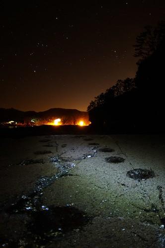 Footprints of dinosaur towards falling Orion...