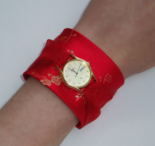 """Ruby"" watch cuff in silk and ribbon"