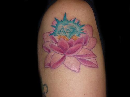 Lotus tattoo Diamond tattoo by luckybambooflickr