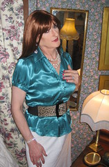 Confucius Say... (Julie Bracken) Tags: old red portrait fashion hair tv cd mini skirt crossdressing tgirl transgender mature tranny transvestite pantyhose crossdresser crossdress tg trannie mtf travesti m2f feminized enfemme xdresser tgurl feminised transsister julieb85