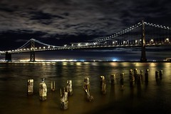 Bay Bridge and Night Heron (!STORAX) Tags: sanfrancisco california bridge urban usa night bay unitedstates unitedstatesofamerica save embarcadero savedbydeletemeuncensored
