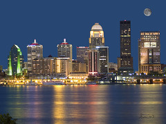 Louisville Skyline with Moon (gregmacg) Tags: moon skyline louisville ourkentucky