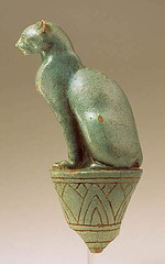 Egypt - 304-30 B.C. Cat on Papyrus (George Ortiz Collection, glazed terracotta) (RasMarley) Tags: sculpture animal cat ceramic egypt realism 4thcenturybc georgeortizcollection