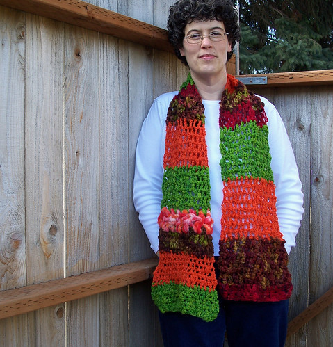 Orange and green scarf (self-portrait)