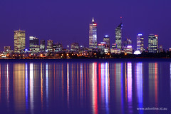 Perth at Night (Adam Dimech) Tags: city reflection building water night skyscraper river landscape evening swan twilight cityscape dusk centre australia perth wa cbd westernaustralia swanriver applecross
