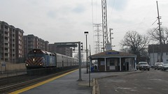 Northbound Metra commuter local arriving at Morton Grove Illinois. Early March 2009.