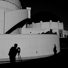 The virtue of the camera is not the power it has to transform the photographer into an artist, but the impulse it gives him to keep on looking. (.I Travel East.) Tags: park light shadow bw white black building architecture la blackwhite nikon observatory nikkor griffith cgb seahawk d80 itraveleast brooksanderson
