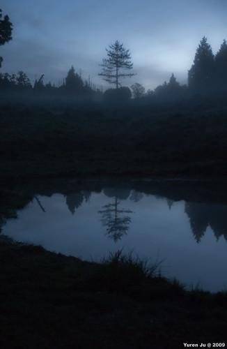 天色很暗,霧很大