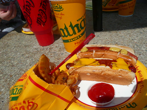 a bunch of food from nathan's.