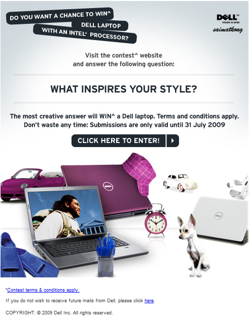 Free Dell Laptop Contest – What Inspires your Style? Share & Win^ a Dell laptop.
