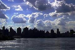 view of Manhattan from Astoria Park 7.19.09 (monophysite57-zzz) Tags: nyc blue sky cloud clouds manhattan july queens eastriver astoriapark skycloudssun