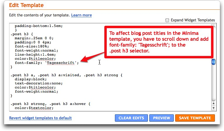kernest - add Tagesschrift to blogger variables esp to h3