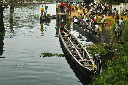A Boat race at Onam Time in Kerala ! Waiting its turn !