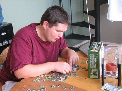 grant still working at the puzzle