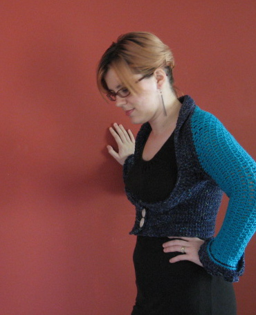 Crochet Shrug 1, wearing side view