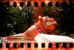 Giant Inflatable Bulldog (rentavet) Tags: clearfieldcountyfair2009 sprockets sprocketography lightleak ferrania agfaflashclipper 100asa