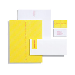 Vancouver Biennale Stationery (Lisa Nakamura) Tags: pink sculpture art yellow vancouver graphicdesign sticker newmedia identity envelope performanceart interactive stationery businesscard branding rethink letterhead vancouverbiennale lisanakamura fluorescentink