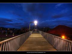 Blue Hour at the Union Station Pedestrian Bridge - Portland Oregon - HDR (David Gn Photography) Tags: night oregon portland skybridge amtrak walkway trainstation pdx bluehour unionstation overhead hdr pedstrian photomatix 6xp sigma1020mmf35exdchsm canoneosrebelt1i
