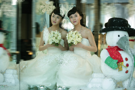 Chinese Actress Zhou Muyin' X-mas Wedding Dresses Photos - beautiful girls
