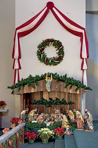 Immaculate Heart of Mary Roman Catholic Church, in Saint Louis, Missouri, USA - Christmas crèche