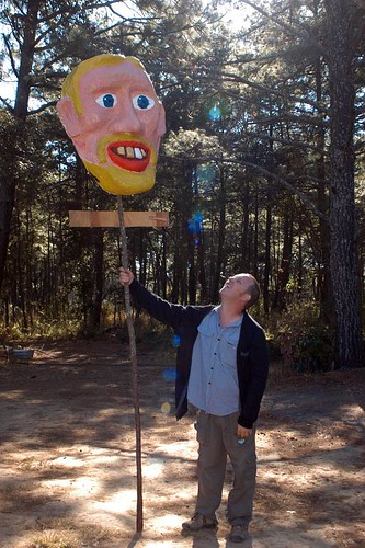 giant puppet head and charles