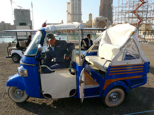The three wheeled transport used to ferry visitors around resembles the tuk-tuks in Thailand or the Bajai of Indonesia.