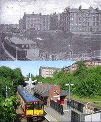 mount florida station then and now (Dave S Campbell) Tags: park street old house bus train circle florida glasgow tram mount southside then now linn past trolly cathcart muirend netherlee