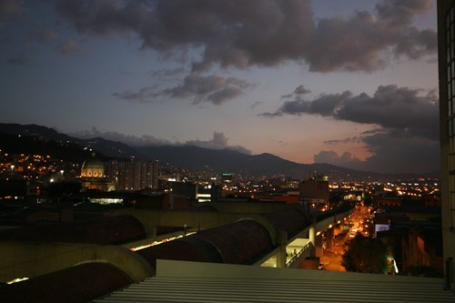 Nice evening hues over Medellín, looking south from the San Antonio metro station.