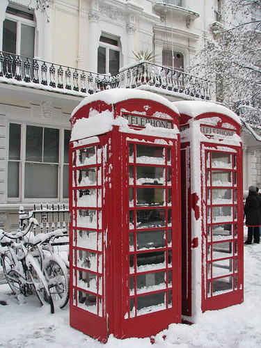 Snowed telephone booths