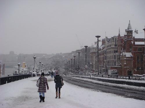 Embankment in the snow