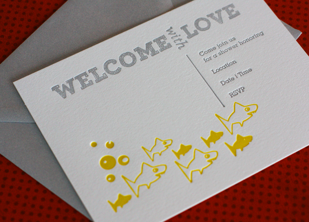 Shark Baby Shower Shower Blog Letterpress