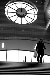 Noon ((Erik)) Tags: blackandwhite bw man clock stairs time zwartwit noon hilversum trap klok zw 1159 timeisrunningout stationhilversum