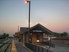 Twilight at the Metra, Chicago Ridge commuter rail station. Chicago Ridge Illinois. Late August 2007.