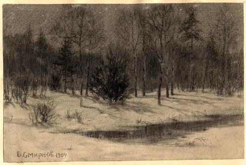 028- La taiga en la noche- Boris Smirnov 1904
