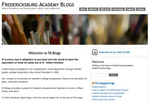 Image of the fredericksburg Academy Blogs