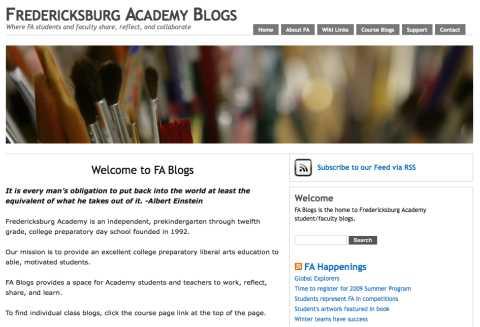 Image of the fredericksburg Academy Blogs