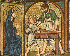 Jesus learning from St Joseph