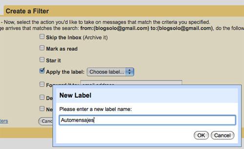 Captura de pantalla con el segundo paso para crear un filtro de Gmail