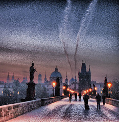 """Dawn Storm"" on the Charles Bridge, reworked (Ian@NZFlickr) Tags: bridge sunrise prague charles praha flickrsbest"