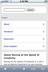 Wordpress pages shown with WordPress Mobile 3.0
