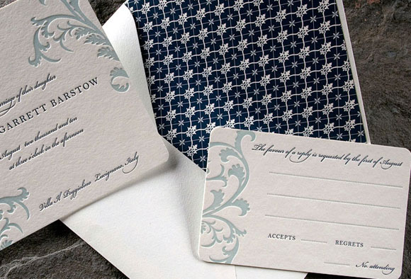 Vettore letterpress wedding suite - midnight blue and sea mist - Smock