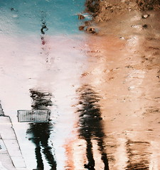 Reflections (jimj0will) Tags: people london film wet water colors rain analog reflections mirror golden colours shadows distorted pavement sidewalk reflected glossy reflect reflective analogue puddles dents shimmer rainwater wetpavement wetday wetlook odt wetsidewalk wetpath