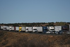 Semi trucks lined up
