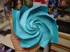 "Joel Cooper's ""Whirl"" Palmerized: 3-Stages (Daniel Kwan) Tags: chris spiral origami joel daniel stage twist palmer cooper collapse hexagon fold crease tessellation kwan whirl danielkwan"