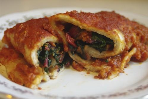 Roasted Yam and Swiss Chard Enchiladas