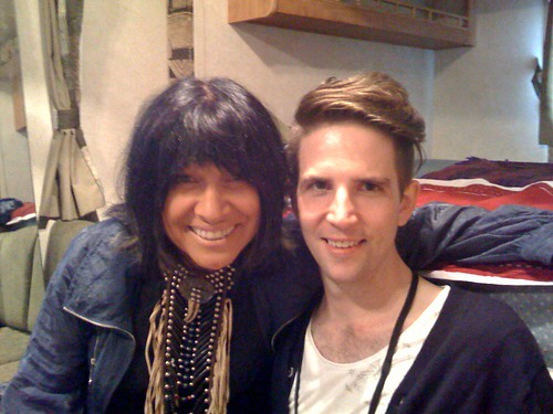 Owen and Buffy Sainte-Marie backstage at Hillside 2009