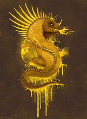 paint dragon (akrapf) Tags: illustration gold paint dragon iguana dbh akrapf andreaskrapf