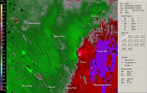 Velocity image showing a potential tornado, courtesy of Flickr user jastrzab
