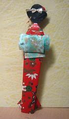 Tall Japanese paper doll in red_back - traded with Janet (tengds) Tags: red geisha kimono obi papercraft redandgreen japanesepaper washi ningyo handmadedoll chiyogami yuzenwashi japanesepaperdoll japaneselady standingdoll origamidoll tengds