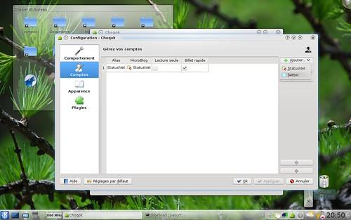Panneau de configuration de Choqok 1.0alpha1